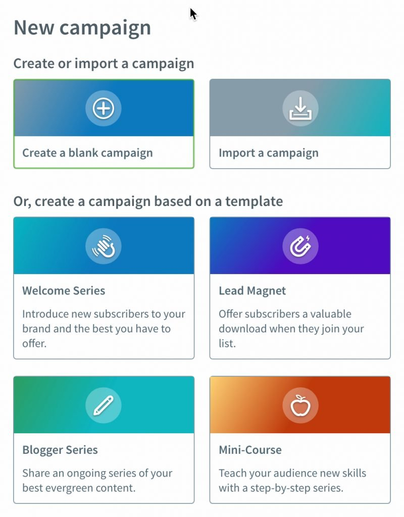 Aweber Workflow Templates - Choose a Campaign